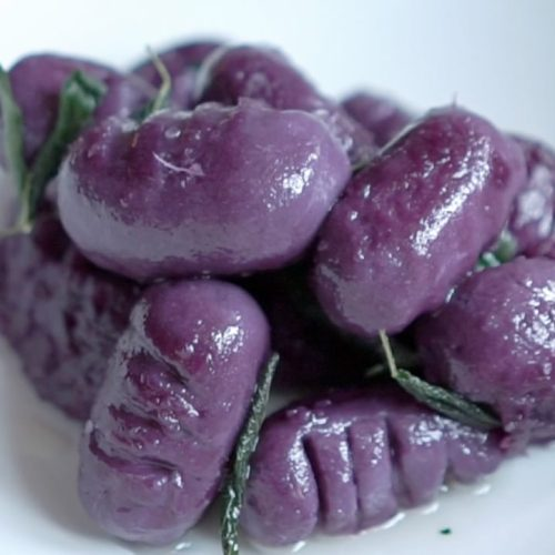 Purple Sweet Potato Gnocchi with Coconut Oil and Sage