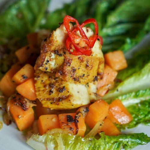 Chicken Sambal Nanas with Salad